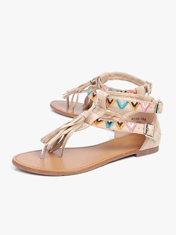 BOOHOO ELLA EMBROIDERED TASSEL TRIM THONG SANDALS  , £12