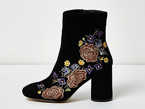 BLACK EMBROIDERED FLORAL ANKLE BOOTS , £45