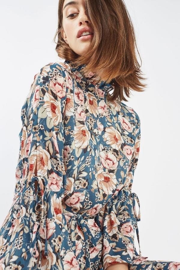 PEONY BLUE FLORAL DRESS,  £49