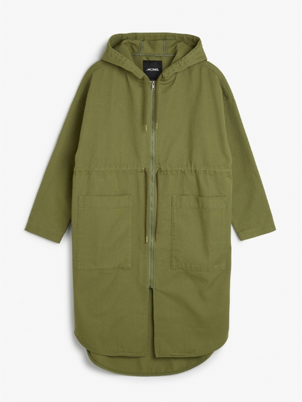 MONKI HOODED COAT , £65
