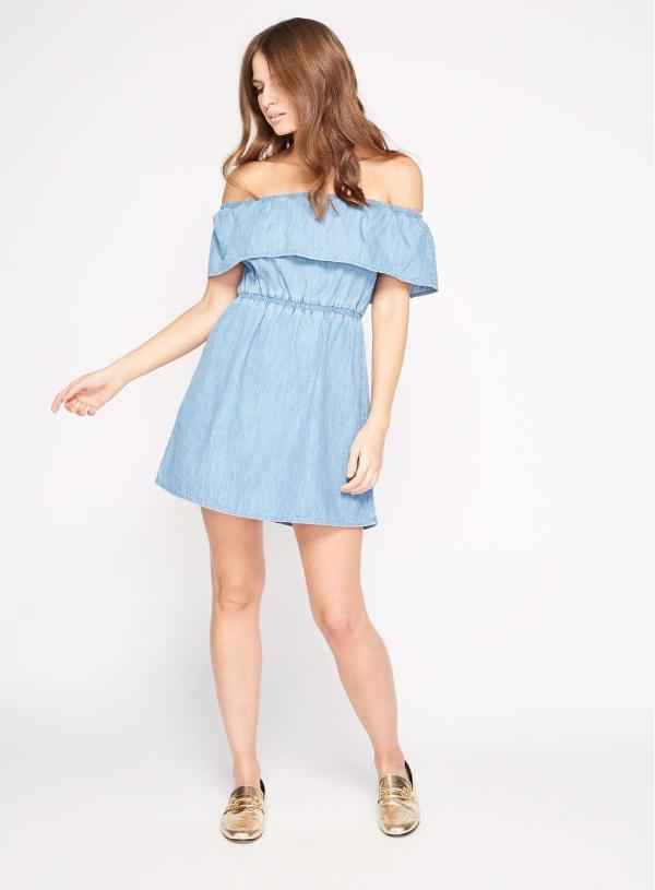 PETITE RUFFLE DENIM BARDOT DRESS, £35