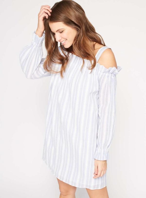 STRIPE COLD SHOULDER DRESS, £32