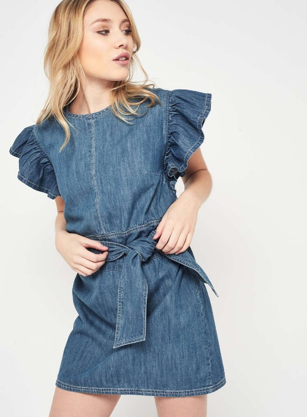 PETITE DENIM TIE FRONT DRESS, £35