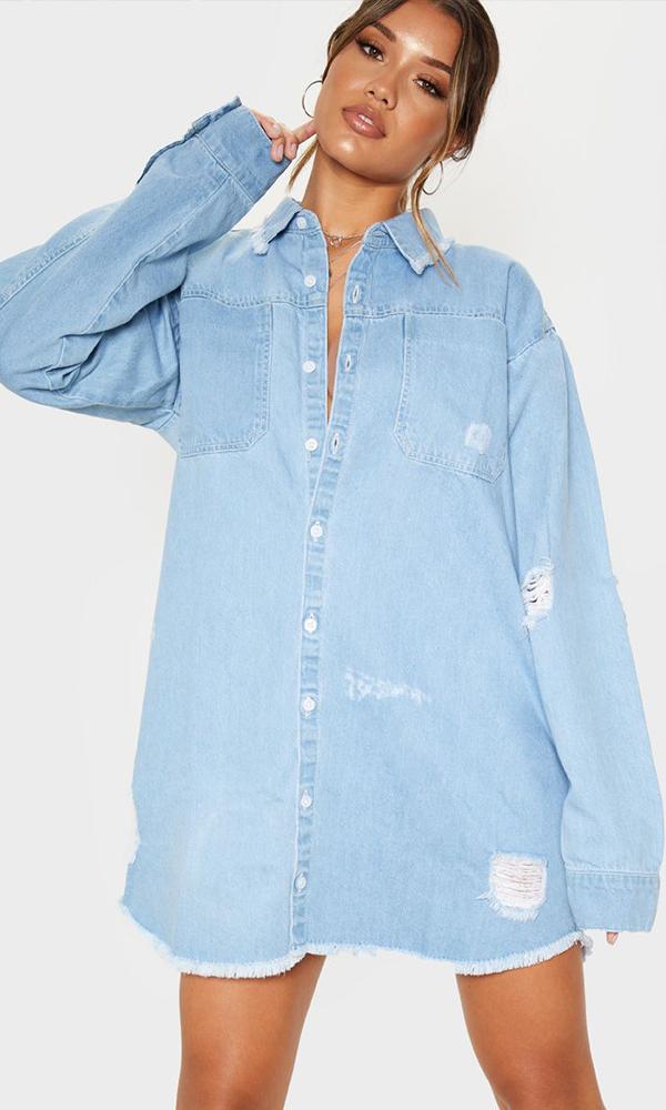 PRETTYLITTLETHING: Light Blue Wash Distressed Denim Shirt Dress, £25.20
