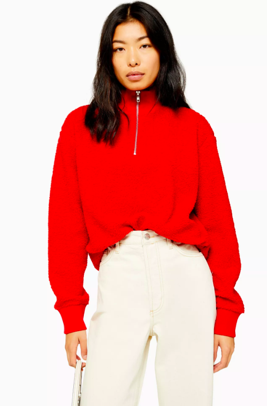 Red Textured Zip Up Funnel Neck Sweatshirt, £25