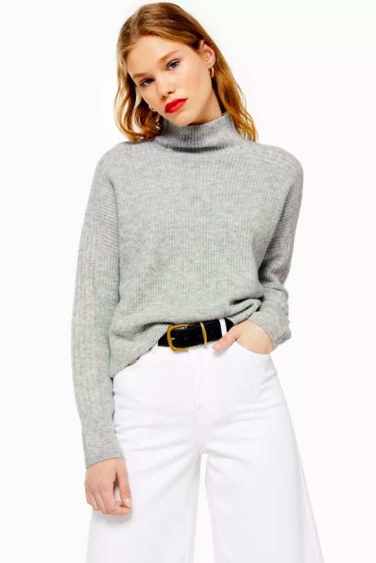 Knitted Cropped Funnel Neck Jumper, £32