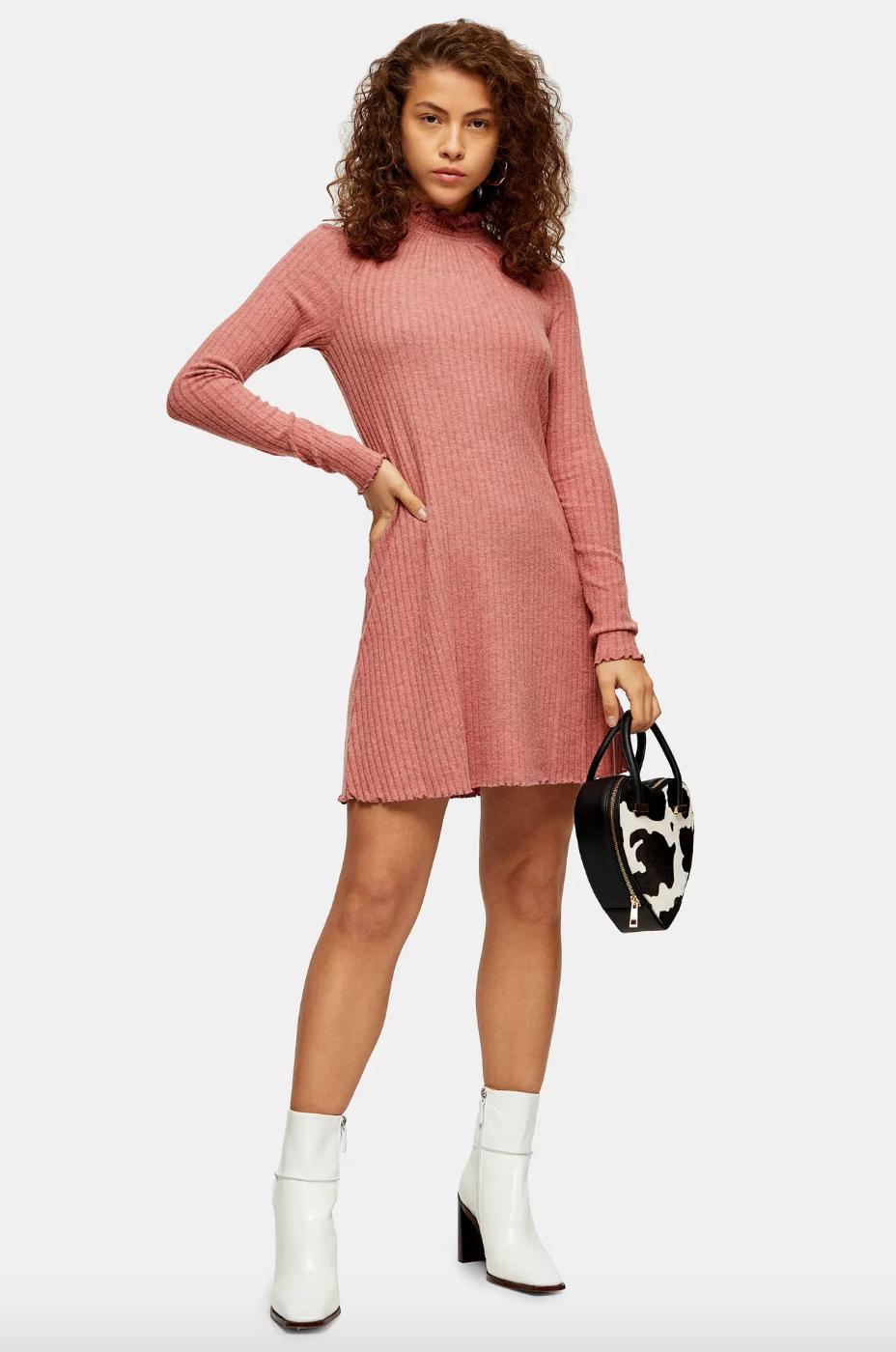 Blush Pink Cut And Sew Shirred Mini Dress,  Topshop