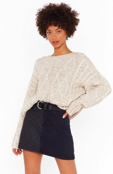 Knit Feels So Good Boat Neck Cable Jumper,   Nasty Gal