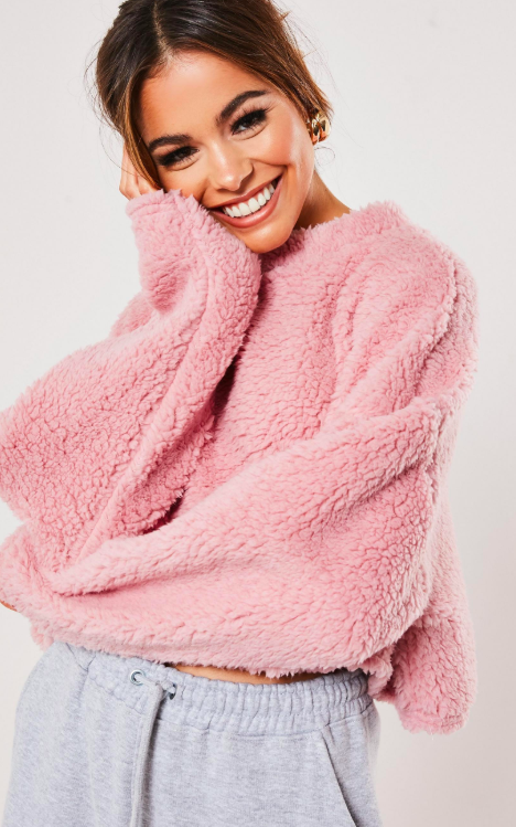 Pink Teddy Borg Cropped High Neck Sweatshirt,   Missguided