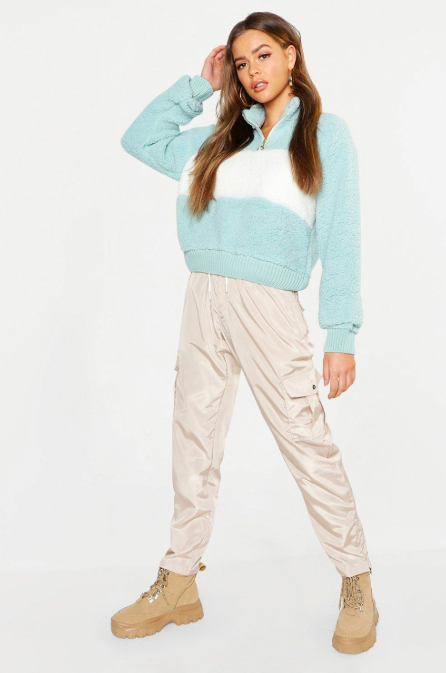Zip Crop Knitted Borg Jumper,   boohoo