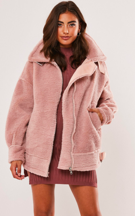 Pink Ultimate Oversized Faux Fur Aviator Jacket,  Missguided