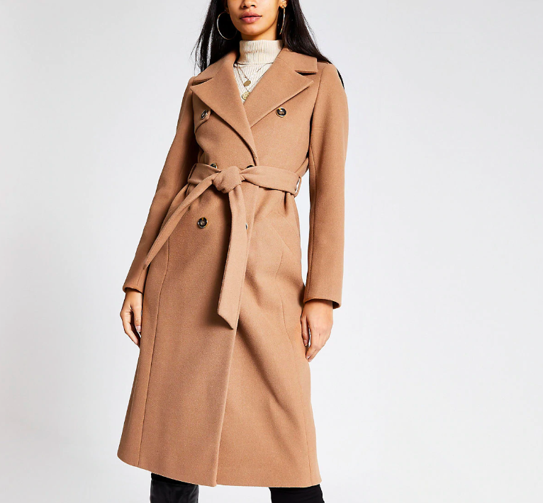 Beige Double Breasted Longline Belted Coat,  River Island