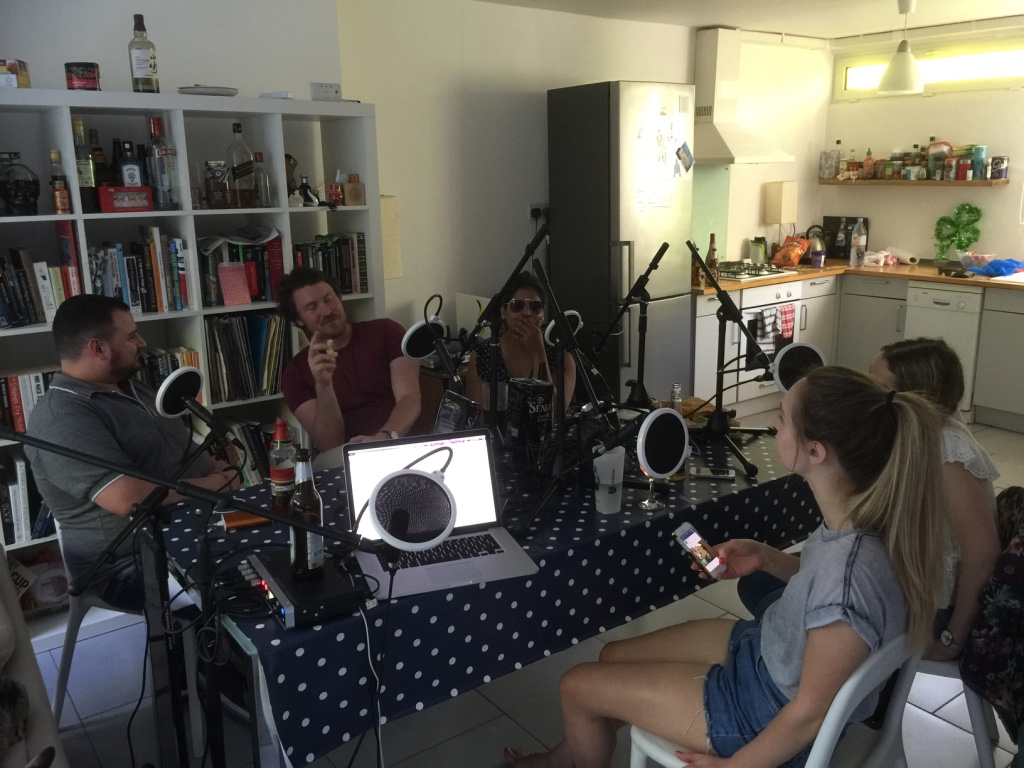Liam laying down some podcast truth with the gang