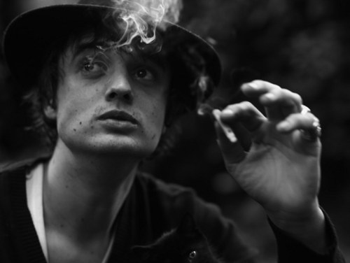 Pete Doherty probably on his way to package up some cigarette butts to sell on his stall