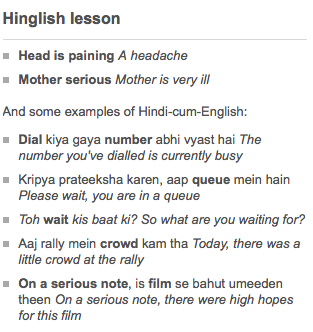 Hinglish - It's a thing, google it