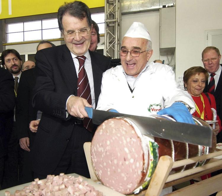 Romano Prodi e la mortadella