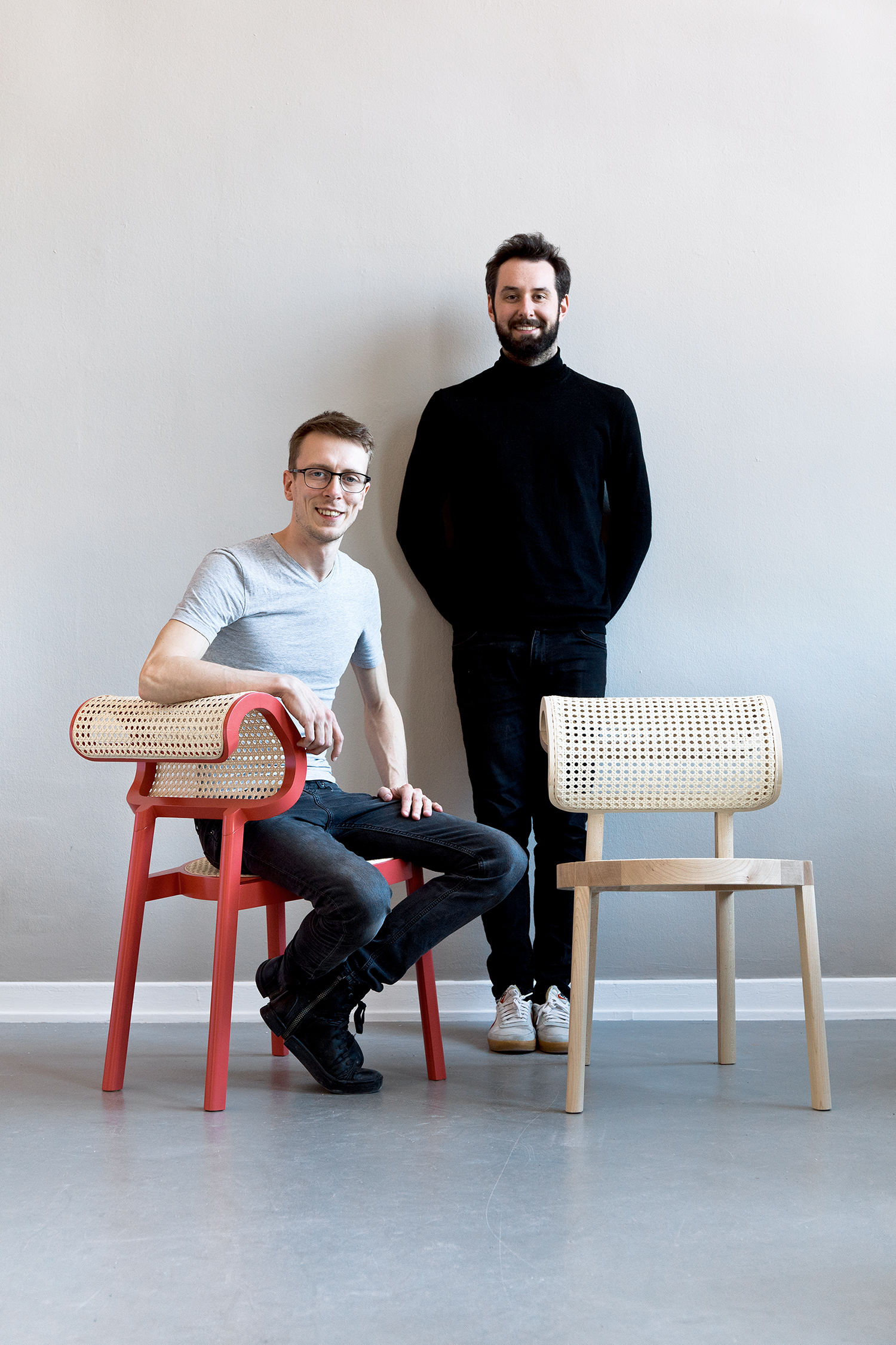 Florestan Schuberth & Janis Fromm with their ANDY Chairs