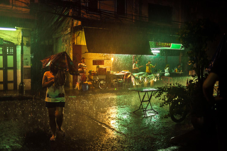 Rain caught everyone off-guard in Bangkok's Chinatown.