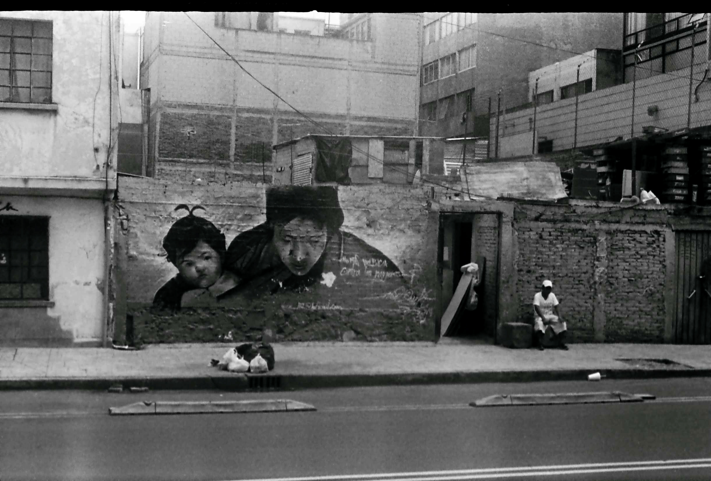 This is right outside my building in Mexico City, downtown on the Roma side. This mural was there for some years, I photographed it with a number of cameras and formats, including 127 on a toy camera. It is now a sad yellowish wall. This is shot on Kodak 400 TX with my Fed-2 + 50mm Jupiter f2.8