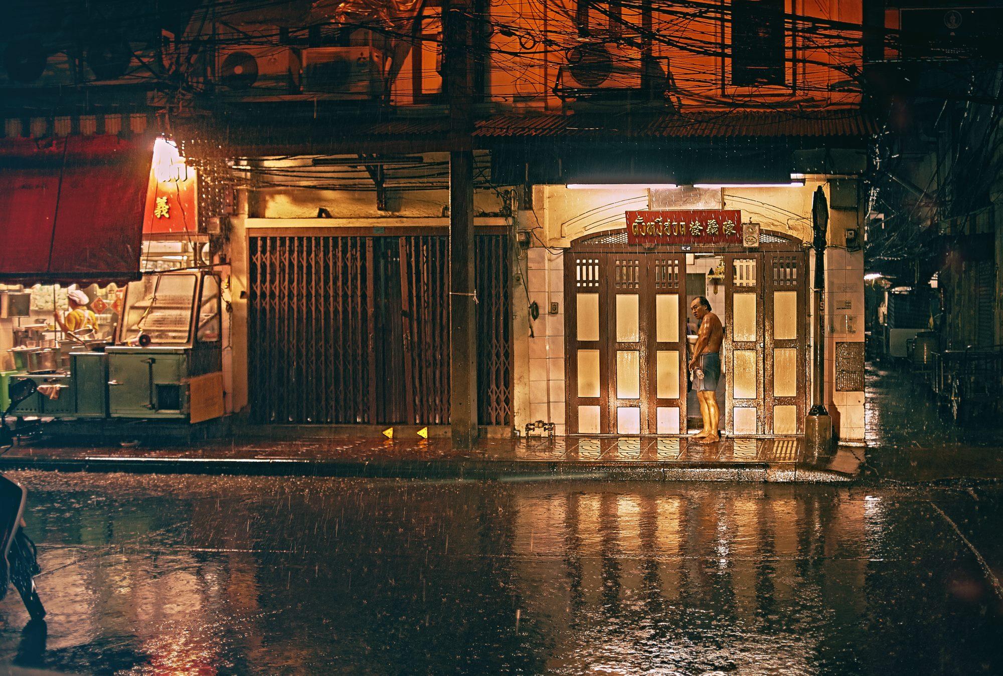 Pouring rain Chinatown in Bangkok.