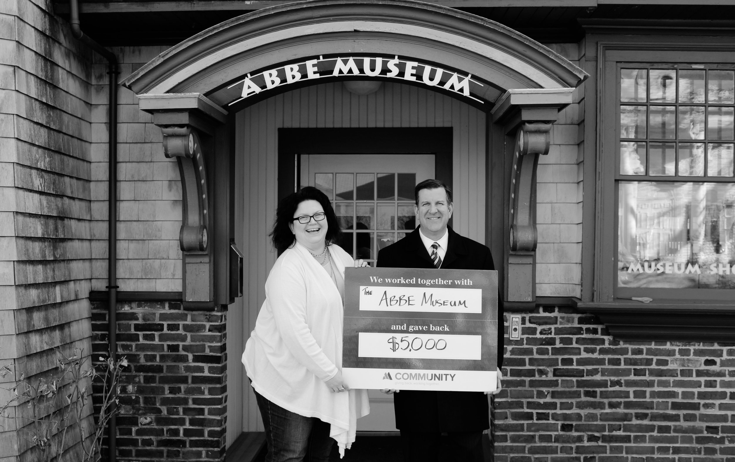 Abbe Museum President and CEO, Cinnamon Catlin-Legutko, and Branch Manager, Matt Horton.