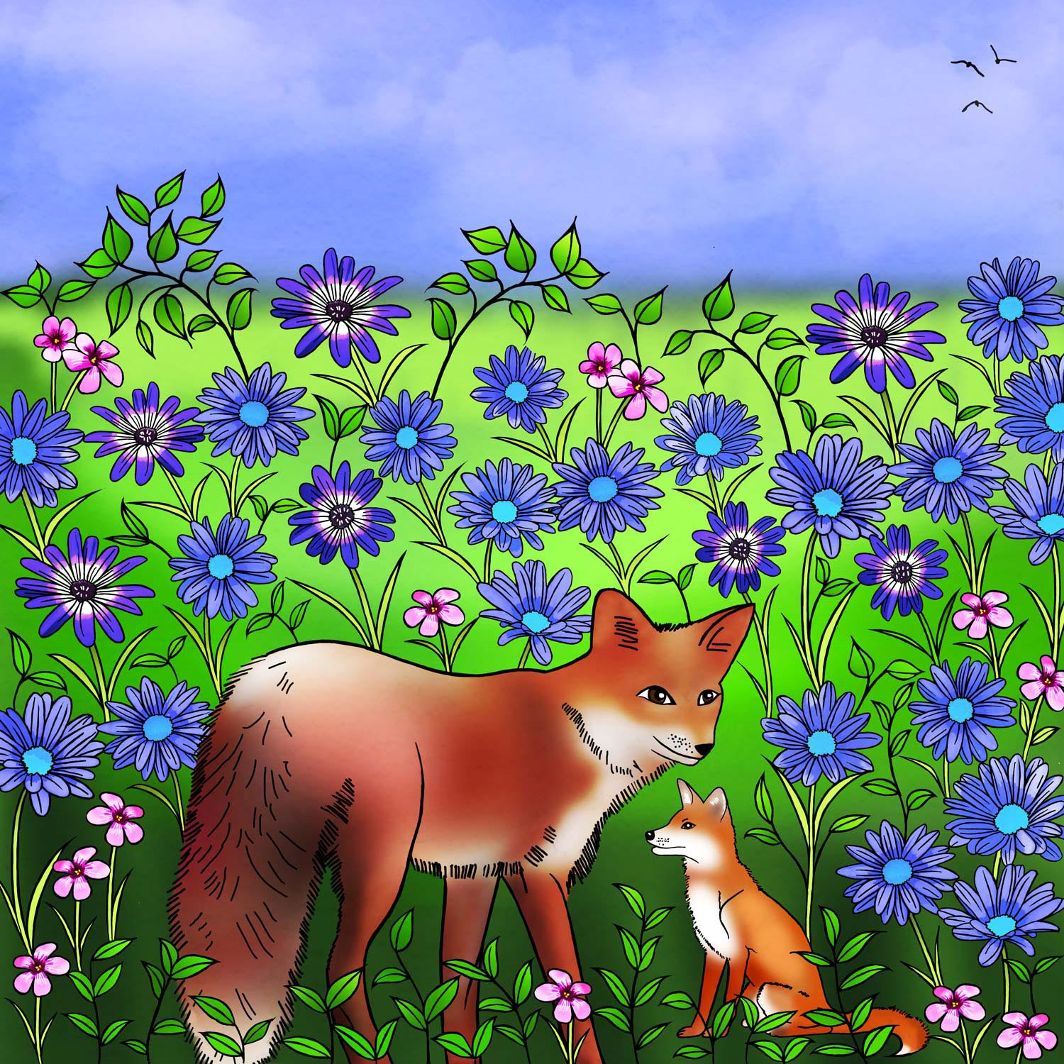 FOX WITH HER CUB – Design Ref. 2485
