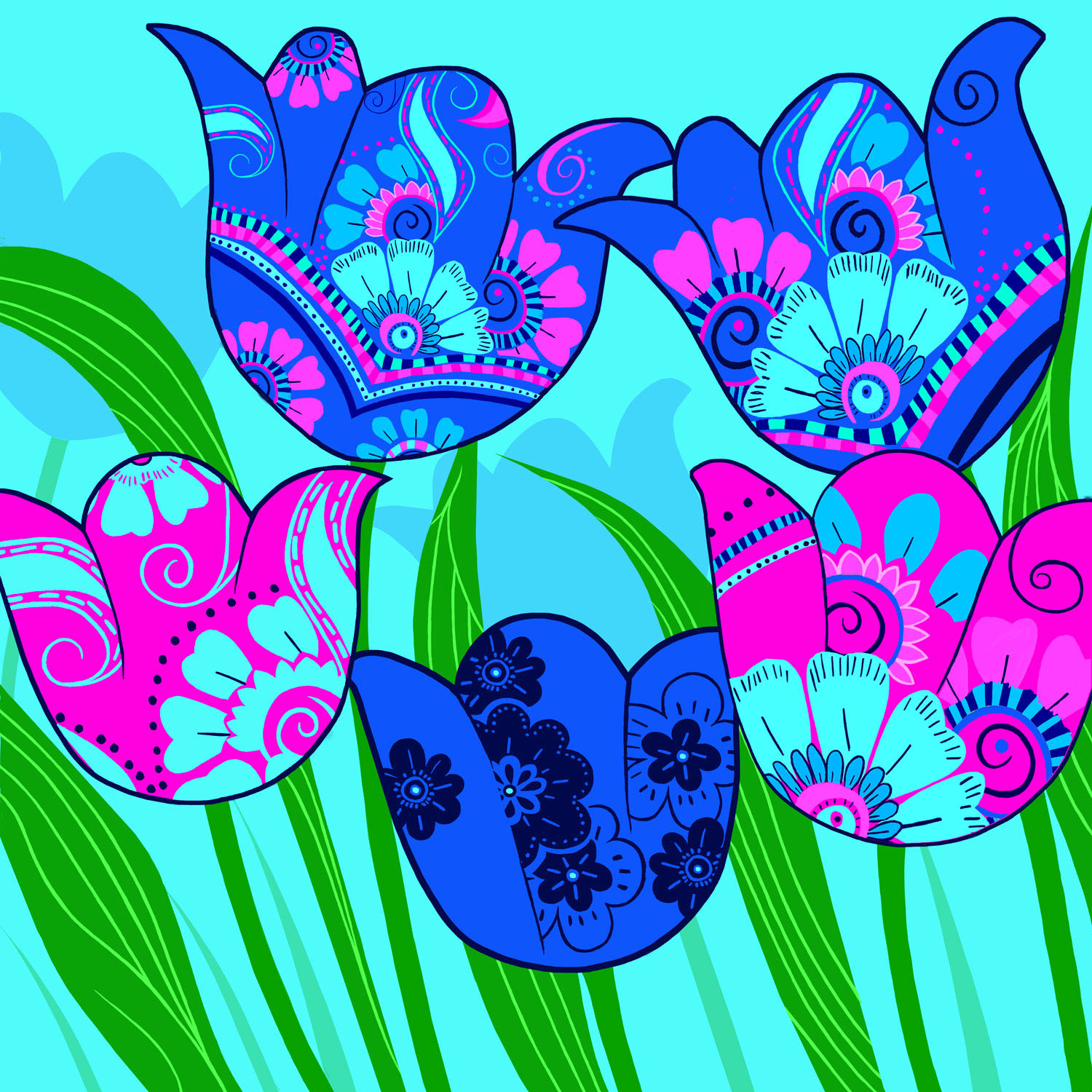 TULIPS AT PLAY – Design Ref. 2146