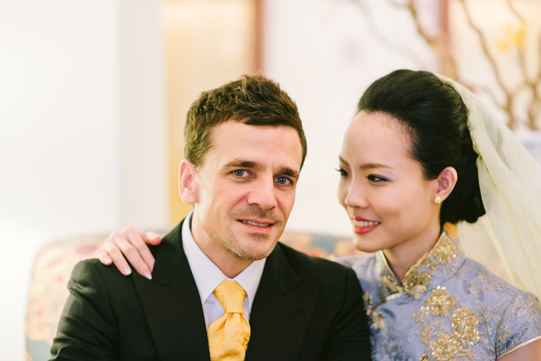 groom and bride elegant portrait