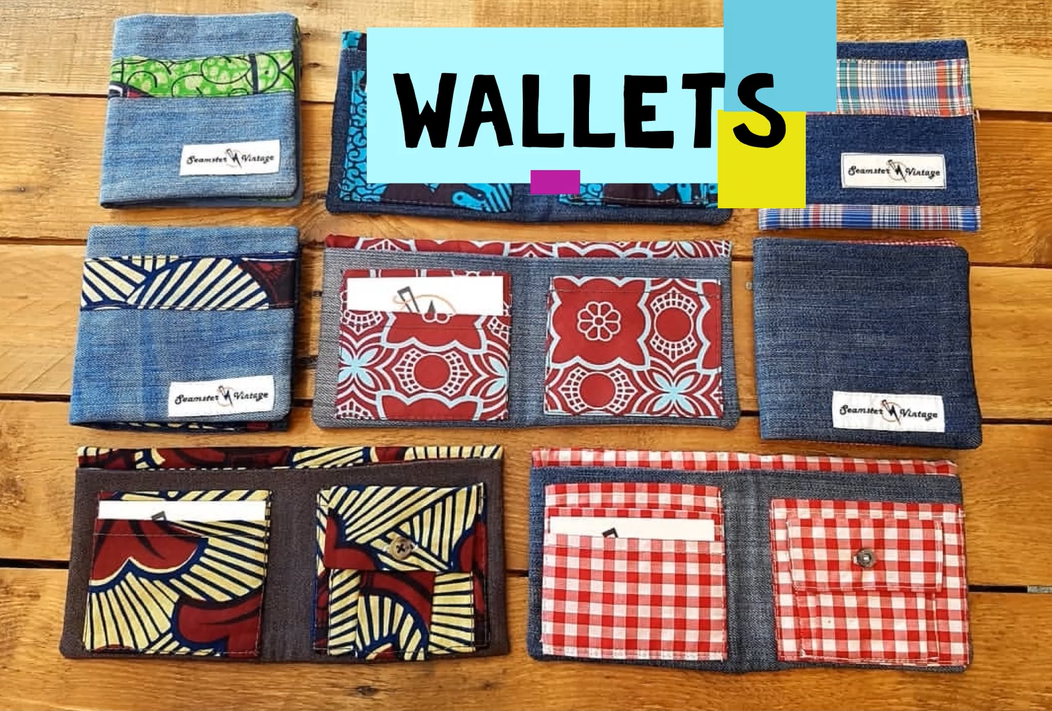 Seamster Handmade wallets are all created with reclaimed and reinforced denim with upcycled vintage details for a quality finish