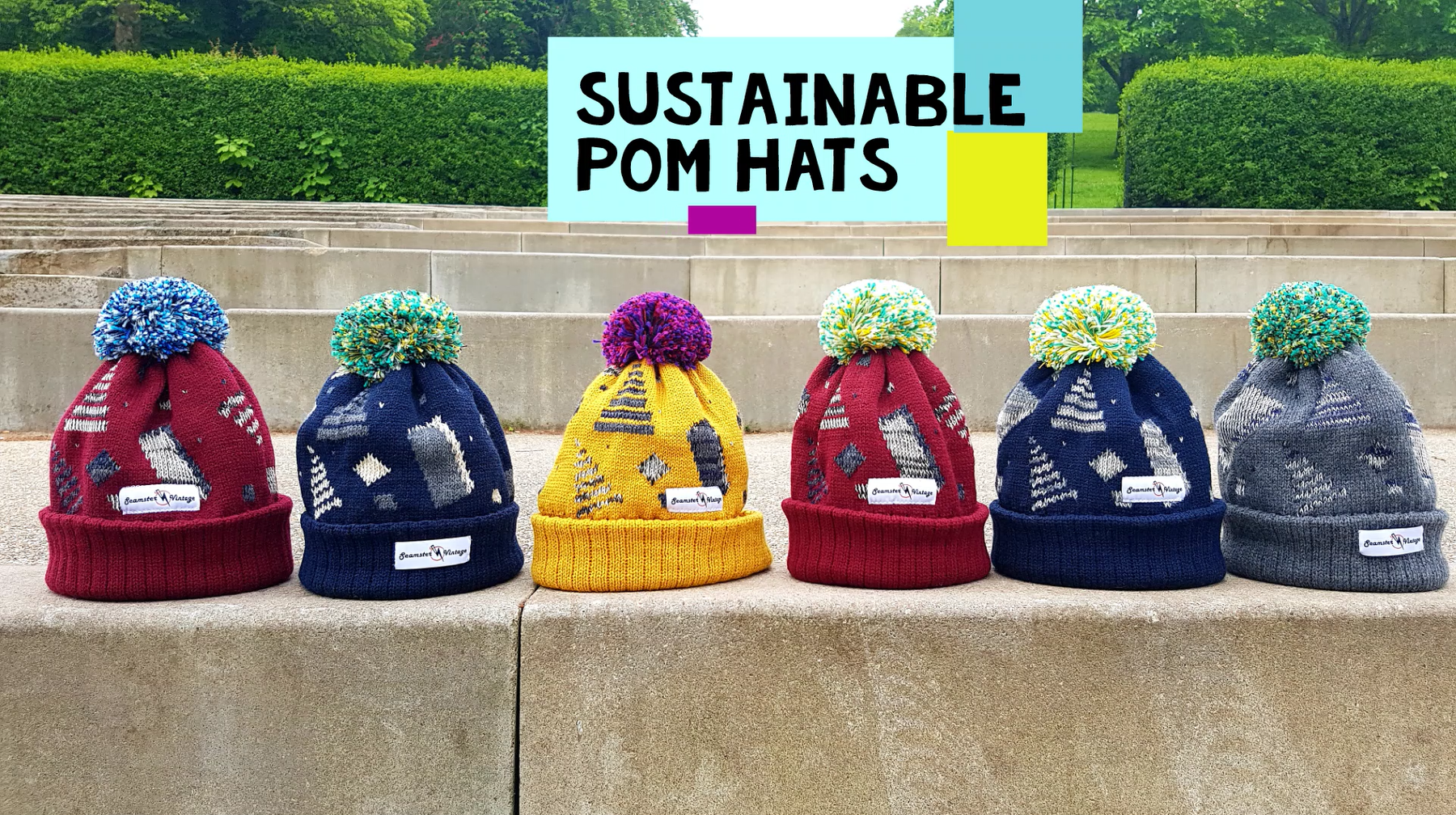 Retro inspired patterns made from industry surplus yarn in the Scottish Borders in collaboration with our pals, Wonky Woolies