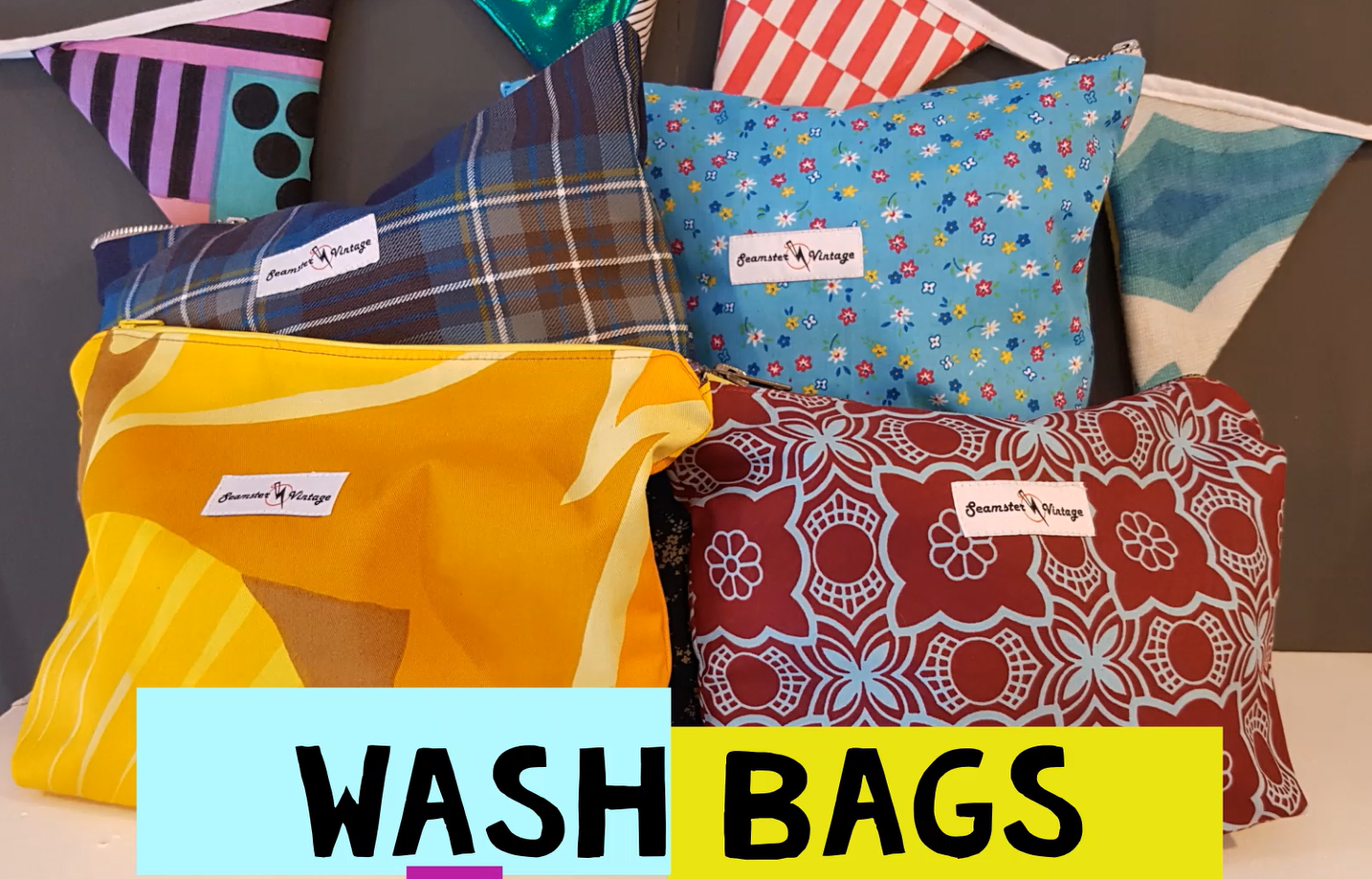 Wash Bags, Japanese Knot Bag style Totes and Earphone Pouches all refashioned from retro classics!