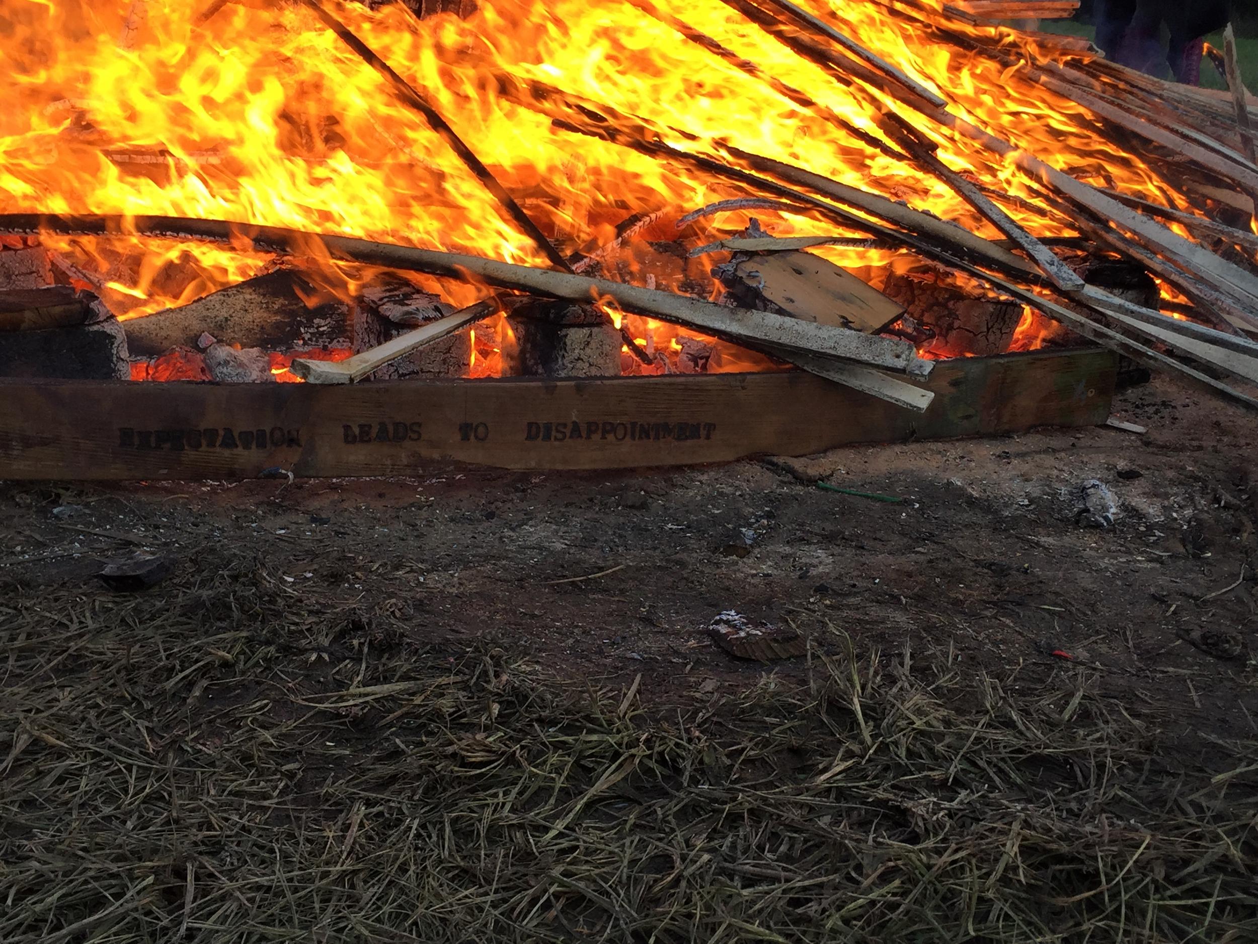 Temple burn at dawn