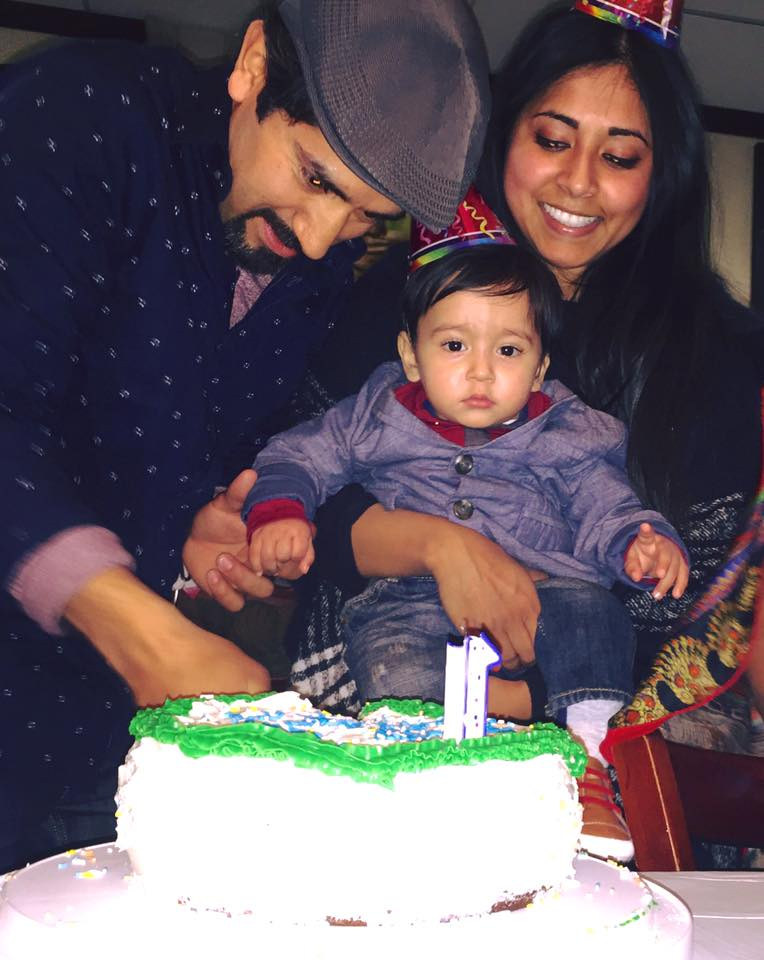 Nadia and her husband, Roberto, with Zakir on his first birthday