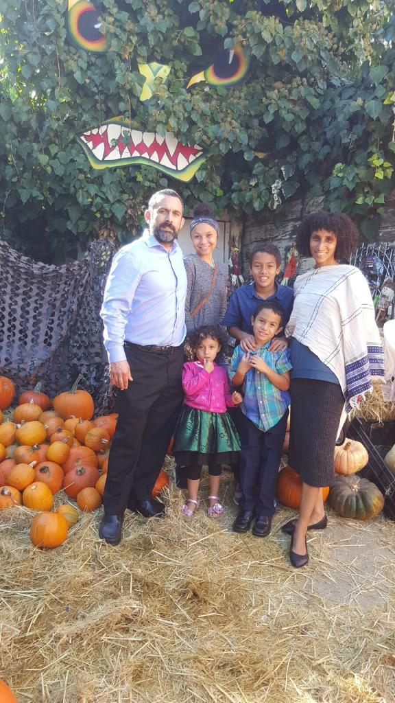 Pumpkin patch fun with Abby and her family. Keith (Abby's husband),  Symone their niece (18), Teddy (9), Daniel (6), Salome (3) and Abby.