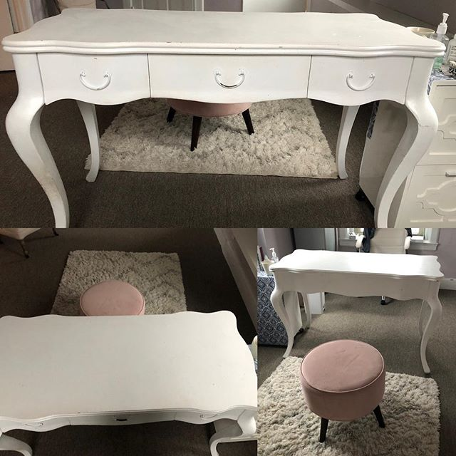 For sale! Desk and pink stool. Must be able to pick up sat afternoon or Sunday morning from my office on the East Side. Desk is in great shape but could use some touch up paint. Stool has a small stain on seat but could be recovered or cute in kids room! $50 for pair! Call or text 401-400-9776 or DM me here!