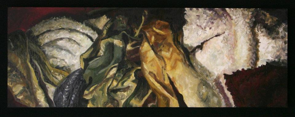 Untitled #1, 2012, Oil on panel, 1.5' x 4'