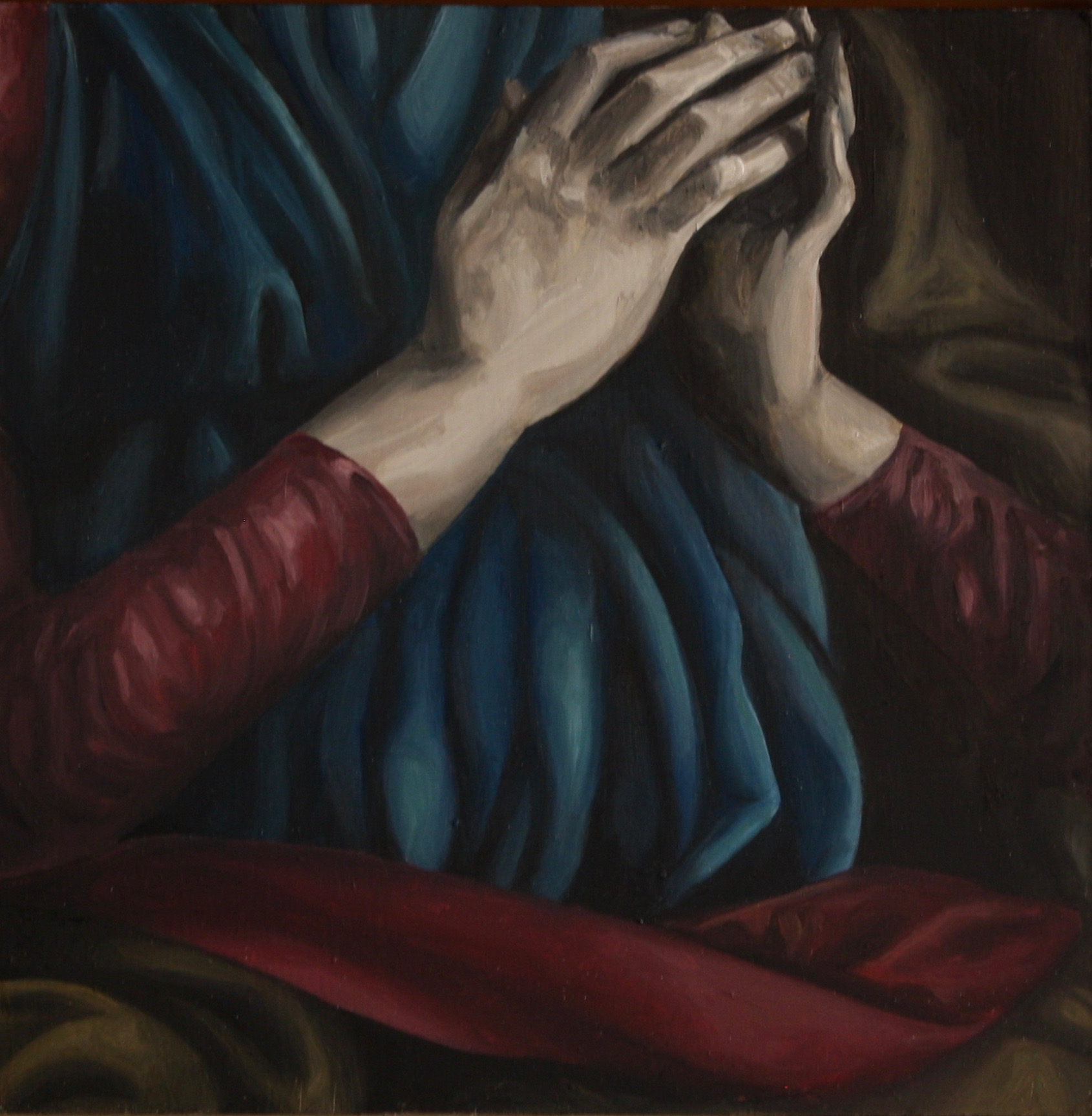 "Mary, 2019, Oil on panel, 12"" x 12"""