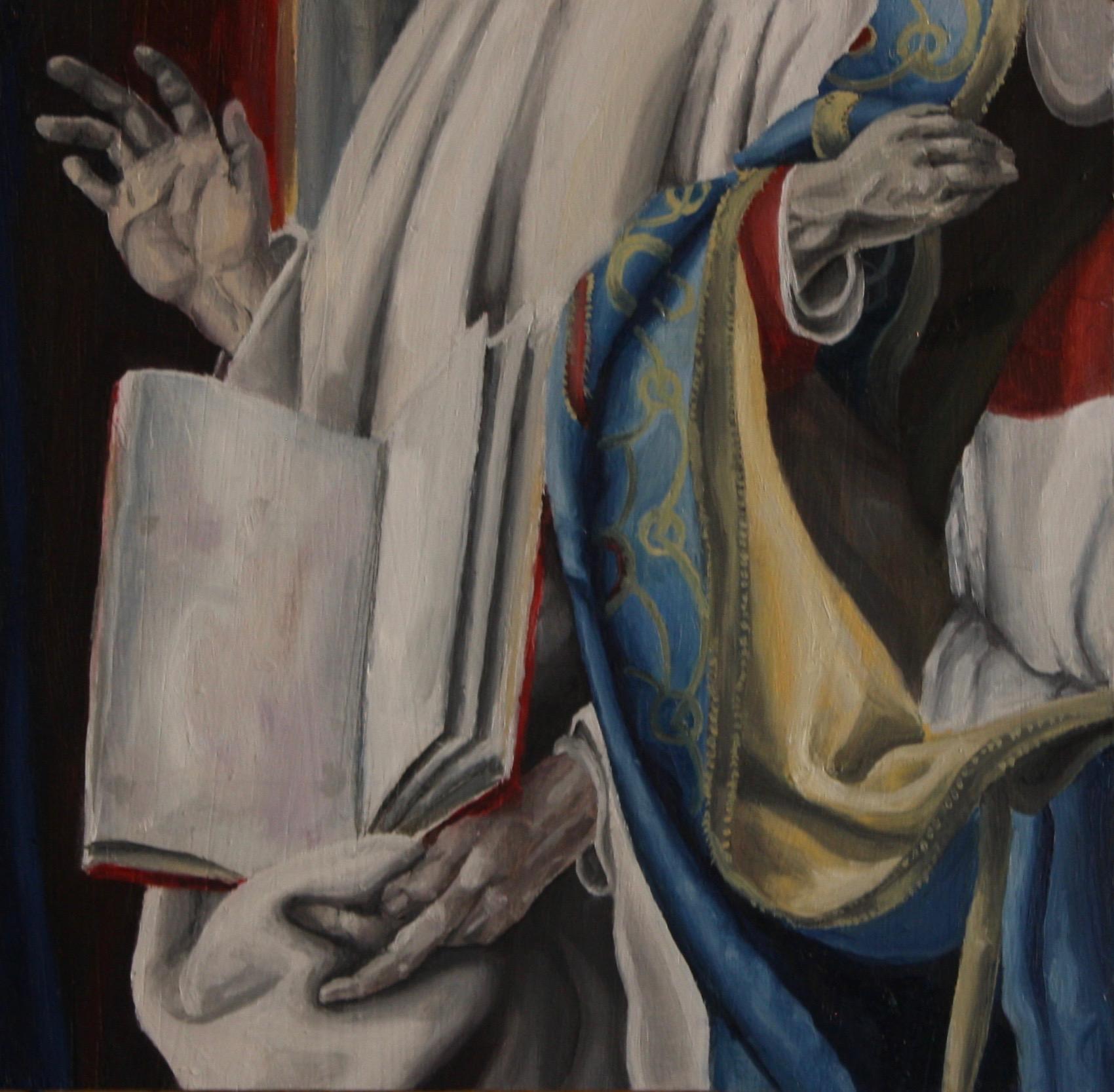 "Saints, 2019, Oil on panel, 12"" x 12"""