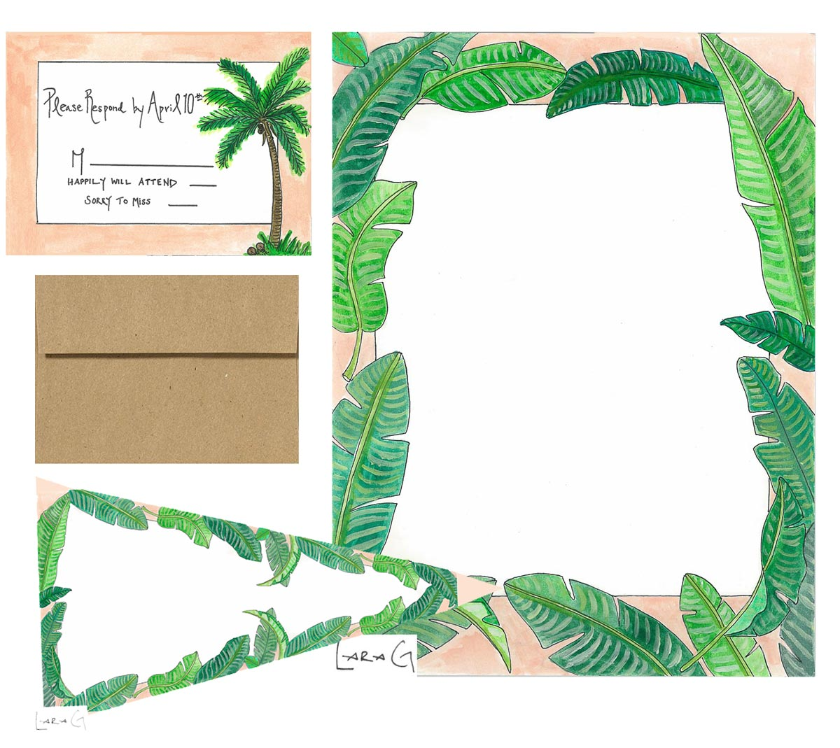 Palms Wedding Invitation Package