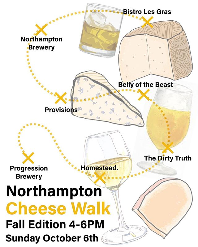 Cheese walk Sunday! 4-6pm in downtown Hamp. Check out some of these awesome spots after you check out our local cheese paired with an exclusive in western Mass, Nonino Aperitivo spritzer. Cheese and bubbles, what more can you ask for on a Sunday afternoon. #EatWithFamily #chhheeeeesseee #eatNoHo #supportlocal #cheesewalk #nohocheese #smallbizcollabs @bellyofthebeastma @dirtytruthbeerhall @northampton_brewery @provisionswine @bistrolesgras @progressionbrewco