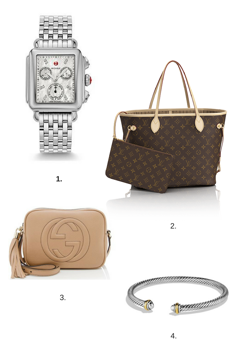michele deco watch, louis vuitton speedy, gucci disco bag, david yurman cuff