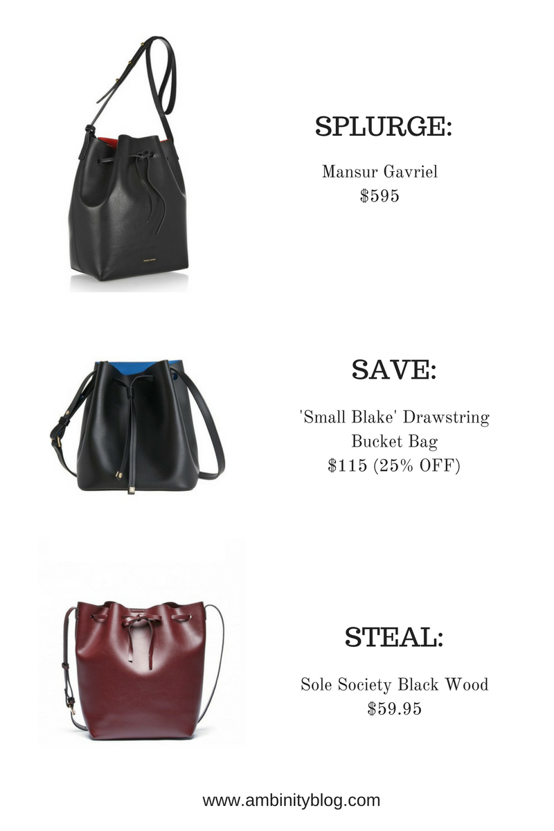the bucket bag cheap, designer, splurge, save