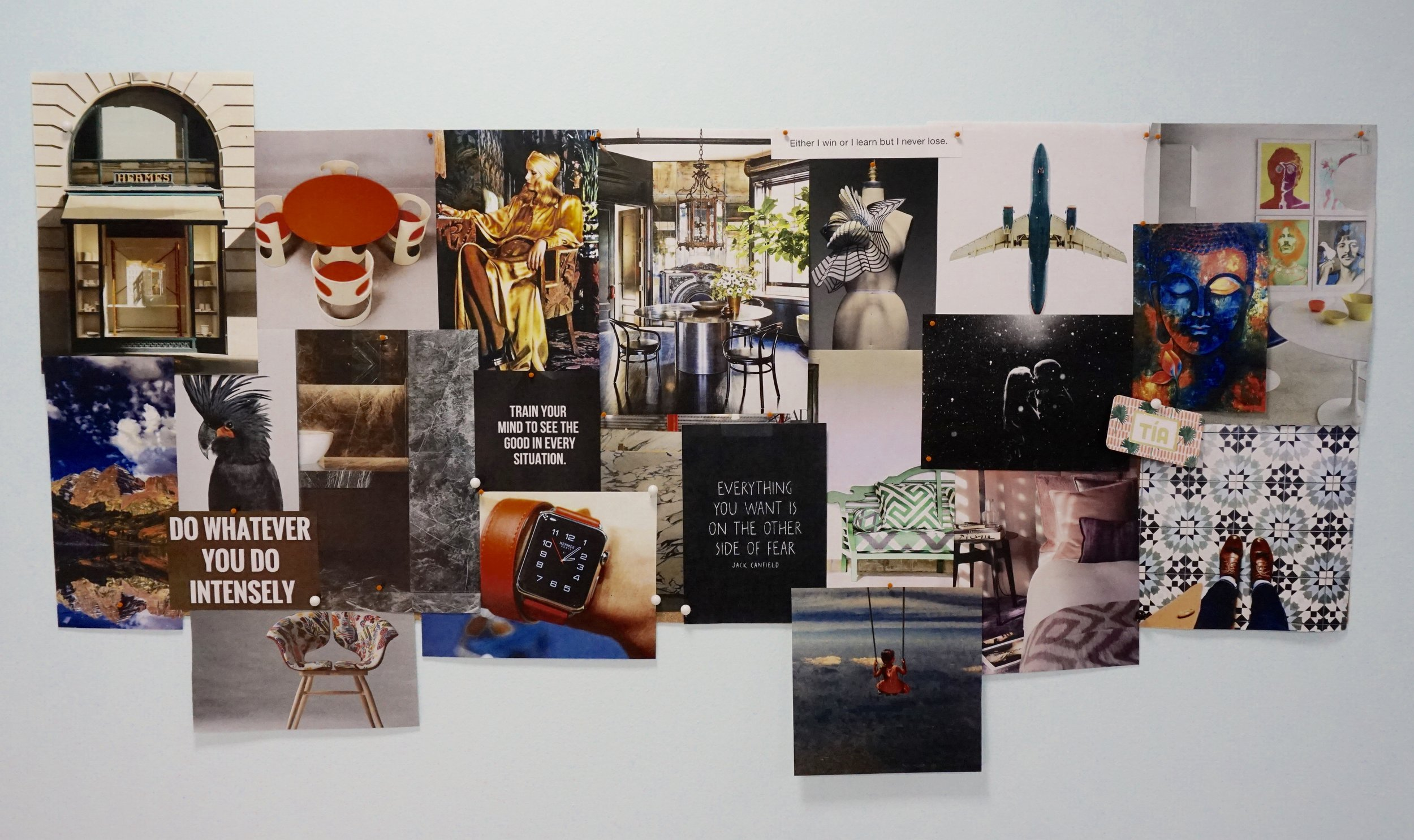 Aurimar's Inspiration Board at the Aaron Stewart Home's Headquarters.
