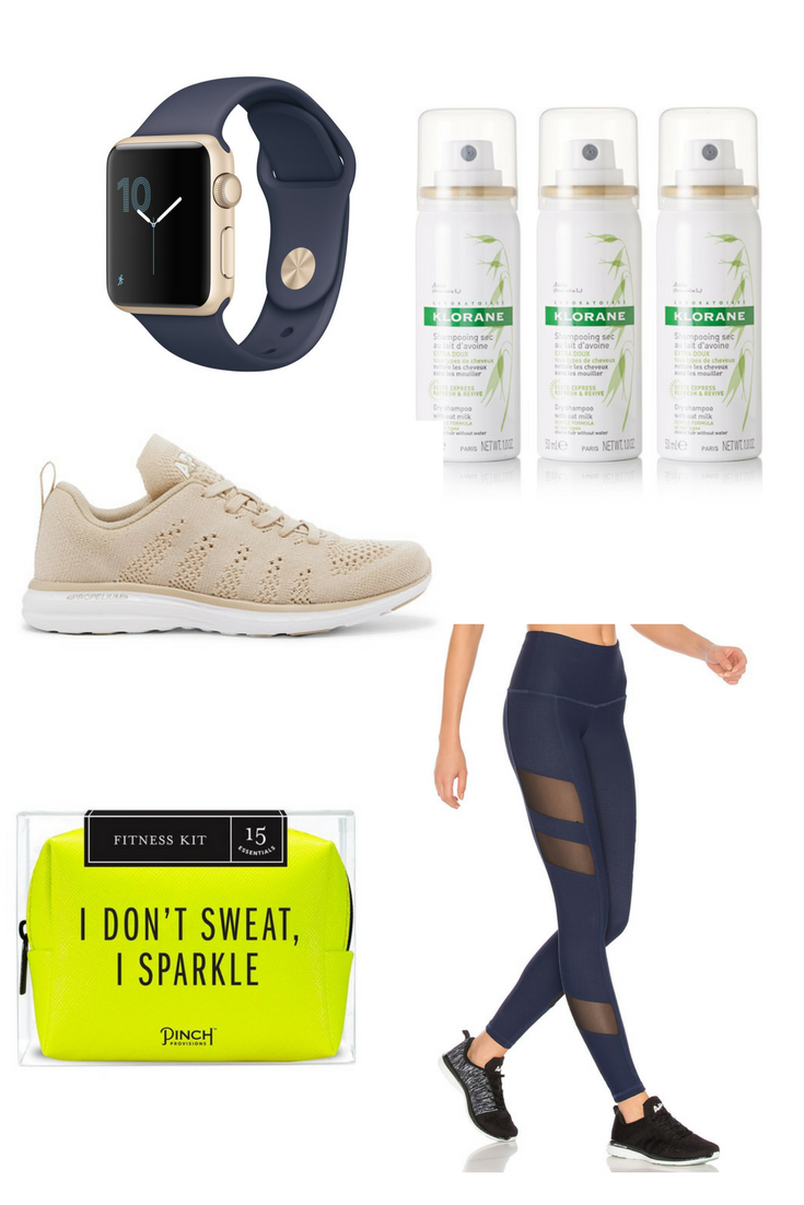 Shop from left to right:  Apple Watch  //  Klorane Dry Shampoo with Oat Milk  //  Athletic Propulsion Labs Cashmere Blend Mesh Snickers  //  Pinch Provisions Fitness Kit  //  The Holden Legging