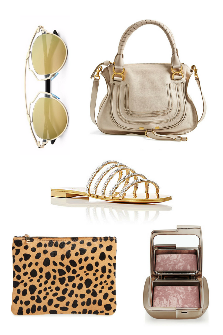 Shop from left to right:  Christian Dior So Real 48MM Pantos Sunglasses  //  Chloe Medium Marcie Leather Satchel  //  Giuseppe Zanotti Crystal Embellished Slide Sandals  //  Leopard Print Genuine Calf Hair Pouch  //  Hourglass Ambient Lighting Blush