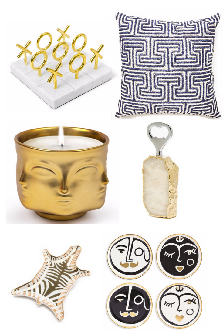 Shop from left to right:  Jonathan Adler Marble & Brass Tic Tac Toe Set  //  Jonathan Adler Mykonos Greek Tooth Pillow  //  Jonathan Adler Muse D'Or Candle  //  Rablabs Heritage Botthle Opener  //  Jonathan Adler Metallic Zebra Dish  //  Jonathan Adler Marseilles Porcelain Coasters Set