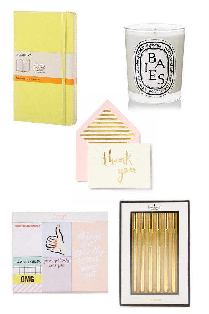 Shop from left to right:  Moleskin Classic Collection Notebook  //  Dityque Baies Scented Candle  //  Kate Spade New York Paint Brush Thank You Note Set  //  ban.do Thumbs Up Sticky Note Set  //  Kate Spade New York Strike Pen Set