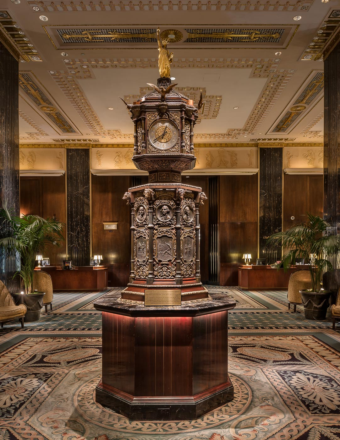 Main lobby at The Waldorf Astoria Hotel, New York