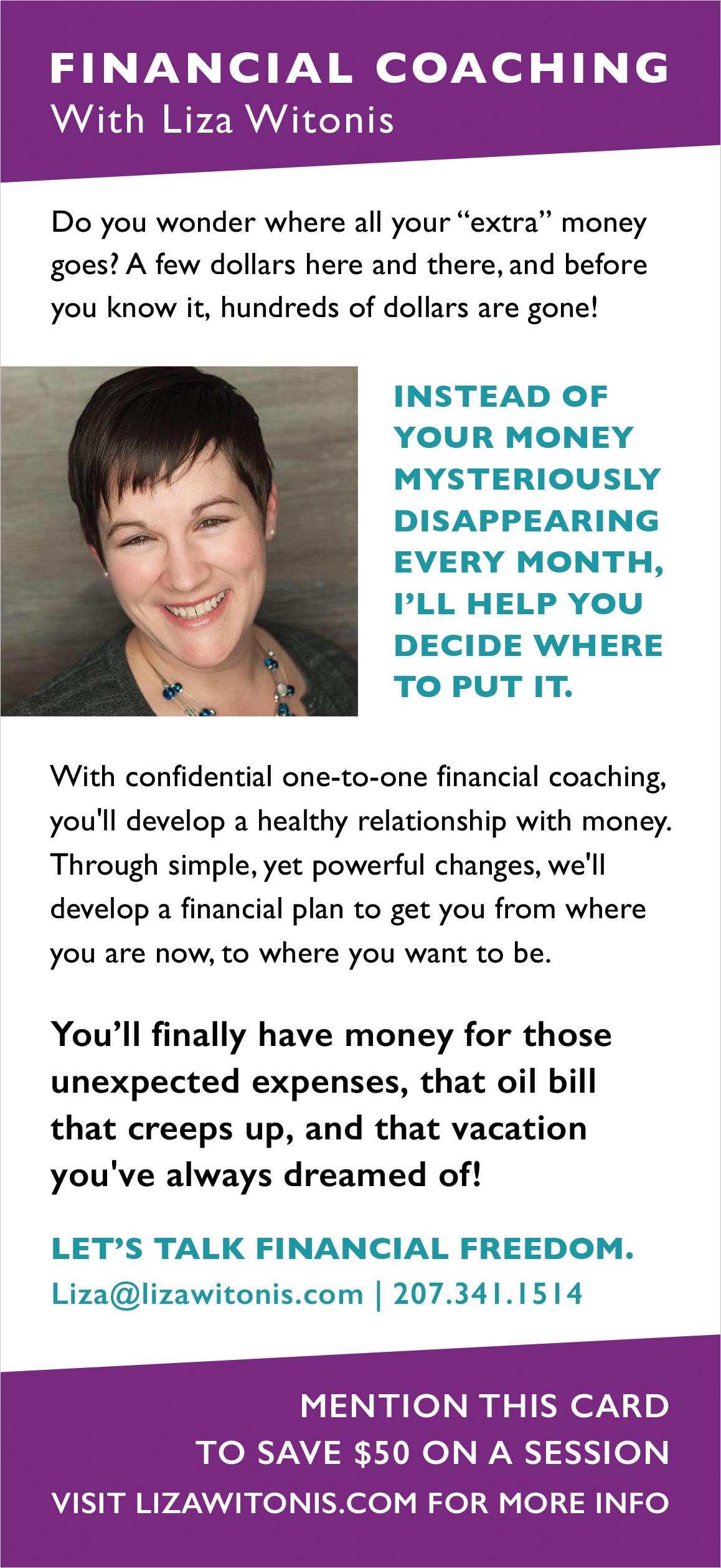 graphic design rack card promotional marketing materials money mindset coach