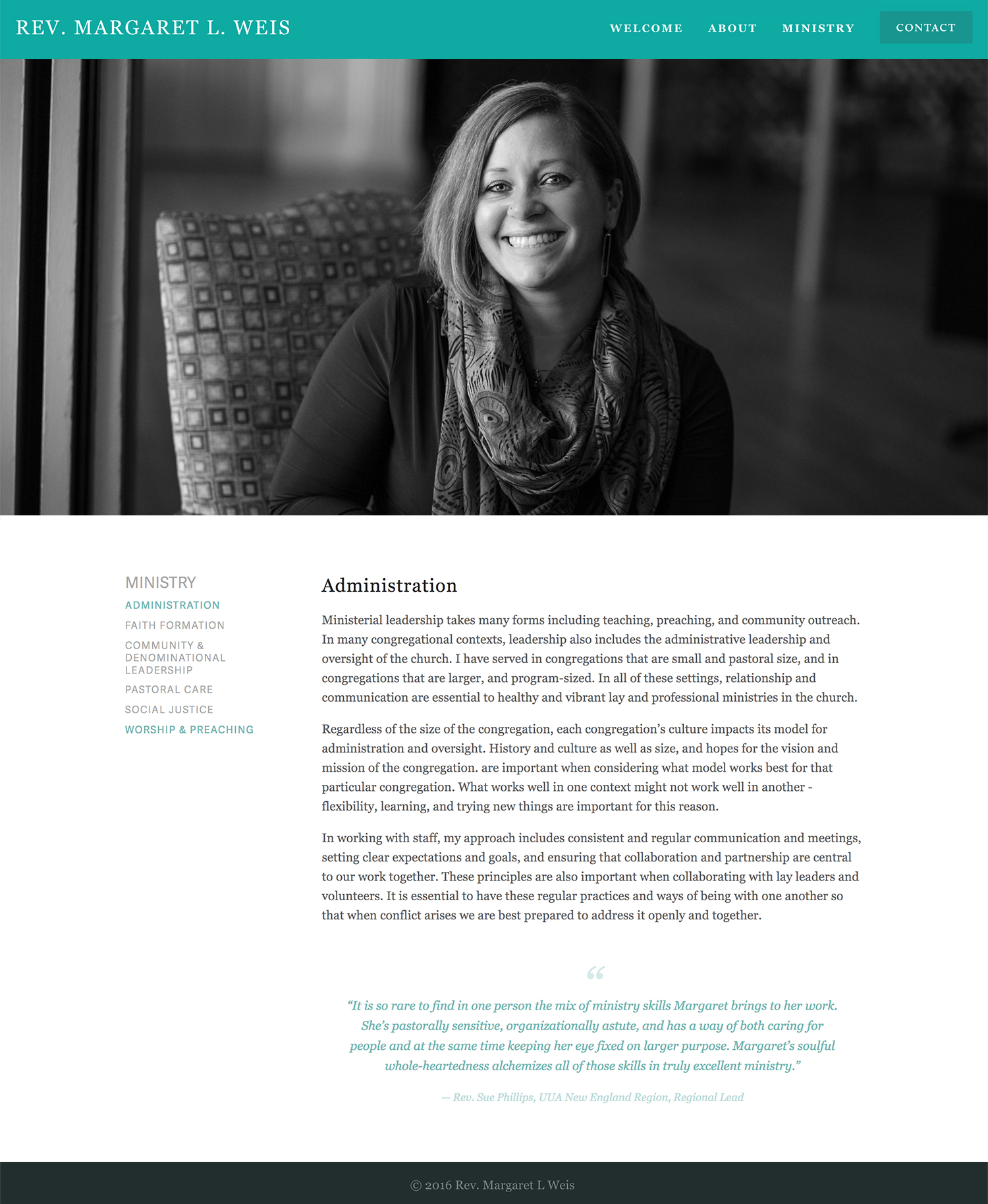 squarespace site design for minister
